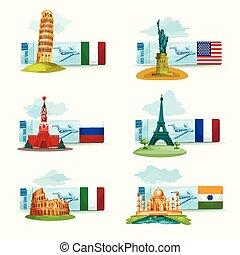 Landmarks Tickets Set - World landmarks airplane tickets set...