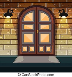 Home Entrance Door - Classic doorway brickwall house facade...