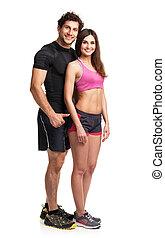atletisk, par, efter,  fitness, vit, Övning
