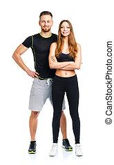 kvinna, atletisk, par, efter,  -,  wh,  fitness, Övning,  man