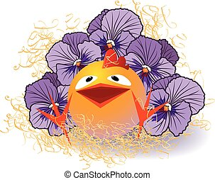 violet pansies and chicken - vector illustration with violet...