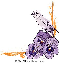 border with violet pansies and bird - vector floral border...