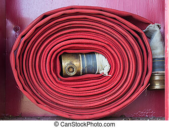 Red Fire Hose,Installation complete prepared for fire fighting
