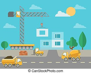 Construction process with construction machines and erected...