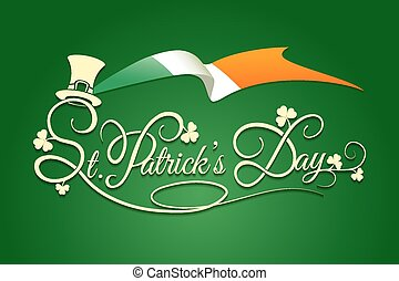 St Patricks Day Background with flag of Ireland - Saint...