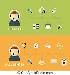 Support and Call Center Concept Illustration. Technical...