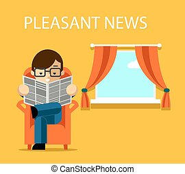 Pleasant news concept. Businessman reading newspaper with...