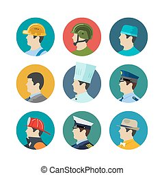 Set of profession icons isolated in circle Soldiers and...
