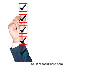 Hand Business man tick check box list on white background