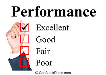 Performance evaluation form tick excellent by businessman