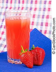 strawberry juice checkered napkin