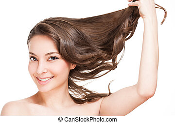 Strong healthy hair. - Portrait of a brunette beauty with...