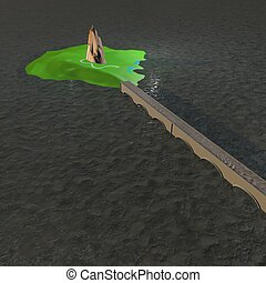 Island with bridge through the water, 3d render