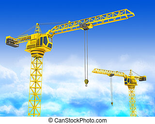 cranes - 3d illustration of two cranes over sky background