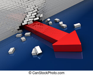 escape - 3d illustration of red arrow breaking whit brick...