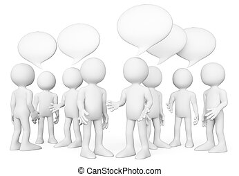 3D white people. Group of people talking. Chat concept - 3d...