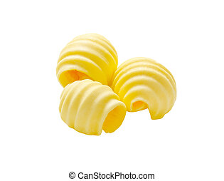 Butter curls - Curls of fresh butter isolated on white