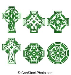 Irish, Scottish Celtic green cross - Celtic crosses white...