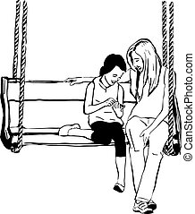 older sister to her younger sister on a wooden swing
