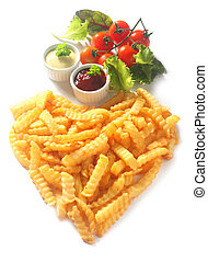 Crinkle Cut French Fries in Heart Shape with Dips - Overhead...
