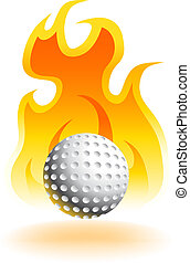 Hot Golf Ball isolated on a white background