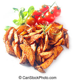 Seasoned Potato Wedges with Cherry Tomatoes - Fried Seasoned...