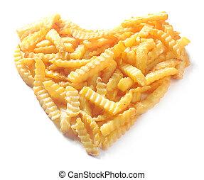 Heart shape from crinkle cut potato chips - Heart shape...