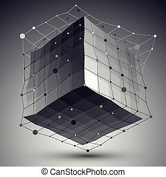 Abstract vector mesh cube - Abstract deformed vector...