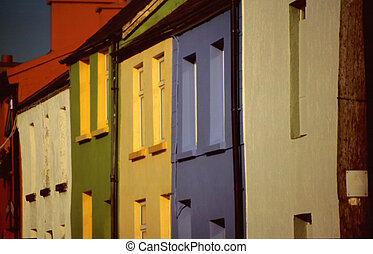 Colourful houses in the harbour of Portmaggee, Western...