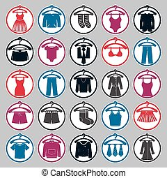 Clothes on a hangers icon set