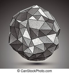 Deformed metallic object created from geometric figures,...