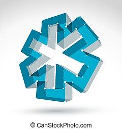 3d mesh web blue ambulance icon isolated on white...
