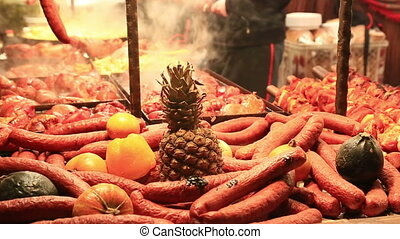 Sale of fried sausages at Christmas fair