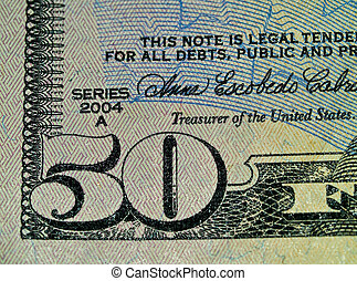 Macro Money Detail $50 - Macro of the corner of the US Fifty...