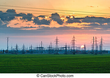 Electric substation - Electric power station pylons and...