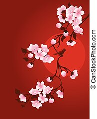 branch of cherry and sun on a red background