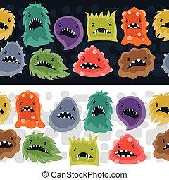 Seamless, modello, con, poco, arrabbiato, virus, e, monsters., disegno