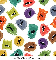Seamless pattern with little angry viruses and monsters. -...