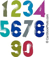Calligraphic numbers drawn with ink brush, colorful vector...