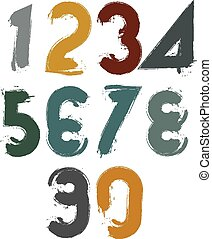 Handwritten colorful vector numbers, stylish numbers set...