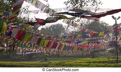 Lord Buddha birthplace in Lumbini - Buddhist prayers flags...