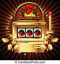A slot fruit machine with cherry winning on cherries. Gold...