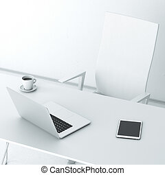 Modern workplace in the office with laptop