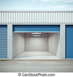 Empty storage unit with opened door. 3d rendering