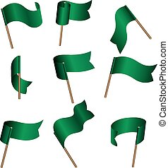 Green empty flags - Set of nine green empty flags on wind