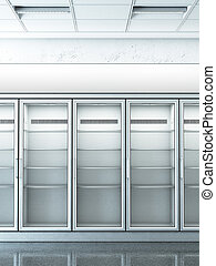 store with an empty fridge. 3d rendering