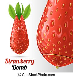Strawberry bomb - Bomb covered strawberries texture on a...