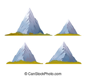 Set of High Mountains - Set of four high mountains with...