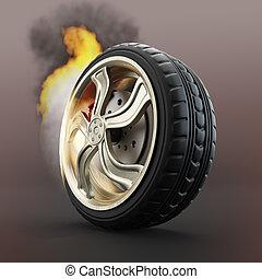 brûlé, voiture, roue,