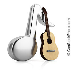Music note and guitar isolated on white background 3d render...